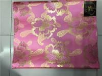 gravata cabeça africana gele sego venda por atacado-Casamento Africano rosa e ouro Africano headtie sego headtie tecido africano, GeleIpele, cabeça TieWrapper, 2 Pçs / set