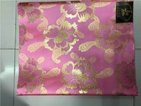 jeu de tête pour mariage achat en gros de-Cravate africaine de mariage rose et or Cravate africaine de tissu Sego, GeleIpele, TieWrapper, 2Pcs / Set