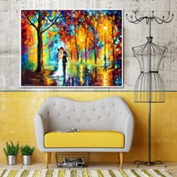 Wholesale attractive paintings resale online - Attractive Knife Oil Painting on Canvas Handmade Beautiful Romantic Lovers Falling in Love Wall Picture for Living Room Bedroom Wall Decor