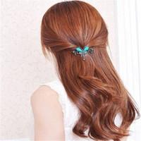 Wholesale Rhinestone Butterfly Hair Clip - High Quality Fashion Vintage Hair Jewelry For Women Retro Gemstone Butterfly Flower HairPins Hair Barrette KR