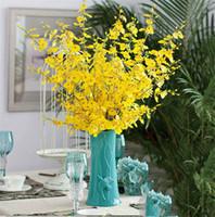 ingrosso orchidee di seta gialle-92cm fiori artificiali affascinanti giallo orchidea seta fai da te partito decorazione di cerimonia nuziale di nozze fiori finti piante all'ingrosso TO607