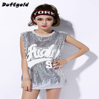 Wholesale sequins woman costume online - 2018 New Fashion Spice Girls Sequins Sexy Dance Wear Women Hip Hop Shirt Nightclub Stage Costumes Cheerleading Clothing Duftgold