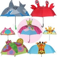Wholesale wholesale animal umbrellas - Lovely Cartoon Umbrella Animal 3D Design For Kids 22 Styles Optional Umbrella Gift Light High Quality NEW NNA227