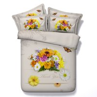Wholesale queen set yellow flowered bedding for sale - Group buy 3D flowers Duvet Cover butterfly bedding sets queen floral Bedspreads Holiday Quilt Covers Bed Linen yellow Pillow Covers comforter covers
