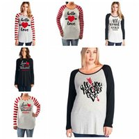 Wholesale Valentine T Shirts - Letter Print Long Sleeve Splicing Striped T-Shirts Autumn Xmas Valentines Blouse Tops O Neck Loose Pullover Tees Shirts 6 Styles 30 OOA4041