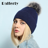 Wholesale real white fox hat - Ralferty Real Fox Fur Pompom Hats For Women Solid Colors Skullies Beanies Rabbit Knit Hat Female Thick Cap Folding Bonnet 2018