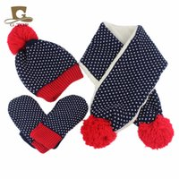 Wholesale children scarf gloves - New kids children Knitted Hat Scarf Gloves 3pcs winter set for boy and girls snowflake pattern