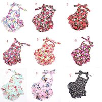 Wholesale flower rompers resale online - Baby Floral Sling rompers Children cotton backless Flowers Jumpsuits infant INS Climbing Clothing without headband C1458