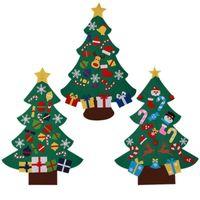 décoration de porte suspendue achat en gros de-Arbre de Noël en feutre avec de beaux ornements Porte Tenture Décoration Nouvel An Noël Enfants Cadeaux