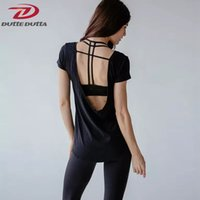 Wholesale thin modal tops - Breathable Yoga Tops Women Short Sleeve Cover Up Backless T-shirt Thin Loose Sport Tee Gym Fitness Jersey