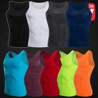 Wholesale lost shirt - 9 Colors Men's Slimming Body Shaper Vest Shirt Tank Top Men's Tummy Waist Vest Lose Weight Shirt Slim Compression Muscle Tank CCA8767 100pcs