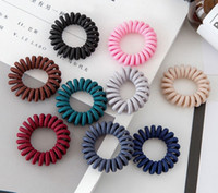 Wholesale phone cord holder online – Fabric Telephone Wire Hair Band Wrapped Cloth Design Ponytail Holder Elastic Phone Cord Line Hair Tie Hair Accessories
