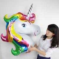 büyük boy balonlar toptan satış-Unicorn Folyo Balonlar Parti Hayvan Helyum Balonlar Globos Şişme Klasik Oyuncaklar Doğum Günü Süslemeleri Çocuklar Parti Malzemeleri Balon Büyük boy