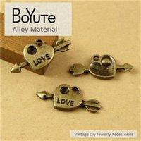 collar de flecha diy al por mayor-BoYuTe (100 Unidades / lote) 21 * 10 MM Aleación de Zinc de Bronce Antiguo Flecha Corazón Encantos Colgante para La Joyería Que Hace Accesorios Diy Collar