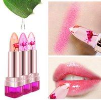 flower jelly lipstick toptan satış-2016 Sıcaklık Değişimi Renk Dudak Balsamı 3 Renk Su Geçirmez Uzun ömürlü Tatlı Şeffaf Jöle Çiçek Pembe Nemlendirici Ruj