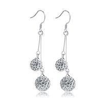 boucles d'oreilles shambhala achat en gros de-EH028 Dangle Chandelier pour cadeau coréen cristal déposer des boucles d'oreilles double shambhala strass boule boucle d'oreille femme bijoux de mode