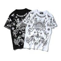 algodón estrella popular al por mayor-Popular Dark Streets Devil Person Impresión Digital Loose Cotton manga corta camiseta masculina estrellas ropa envío gratis