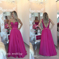 plus abendkleid fuschia großhandel-Fuschia Farbe Abendkleid 2019 A-Line Sleeveless Langes Abendkleid Plus Size vestidos de festa