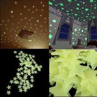 ingrosso decorazione domestica degli adesivi della parete della camera da letto-100 pz / lotto Stelle Wall Stickers Decal Glow In The Dark Bambini Camera Da Letto Home Decor Colore Luminoso Fluorescente Adesivi Murali SEN347
