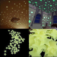 Wholesale glow dark animals online - 100pcs Stars Wall Stickers Decal Glow In The Dark Baby Kids Bedroom Home Decor Color Luminous Fluorescent Wall Stickers SEN347