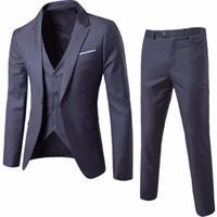 hombres casuales de negocios chalecos al por mayor-(Chaqueta + Pantalón + Chaleco) Trajes de boda de lujo para hombres Casual Blazers para hombre Trajes de corte slim Traje de hombre de negocios Fiesta formal Clásico