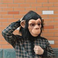 silicone face realista venda por atacado-Nova Criativa King Kong Chimpanzé Animal Partido Máscaras de Rosto Cheio Divertido Grande Orelha Macaco Máscara Realista Silicone Adereços Cosplay Alta Qualidade 34 65fq