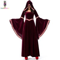 hofkleid cosplay großhandel-Burgundy Samt Lange Kleider Frauen Halloween Party Cosplay Vampir Kostüm Retro Court Zauberer Uniform Hexe Kostüme