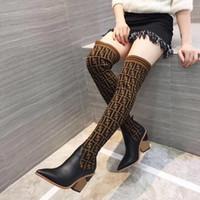 diz üstü çizme markaları toptan satış-2018 moda kadın örgü çorap çizmeler Sivri Tıknaz Topuk 9.5 CM F marka kadın diz üzerinde diz üzerinde uyluk Nefes Elastik çizmeler