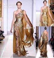 золотые платья zuhair murad оптовых-Zuhair Murad Haute Couture аппликации золотые вечерние платья длинные Русалка одно плечо с аппликациями Sheer Vintage Pageant Пром платья 9390
