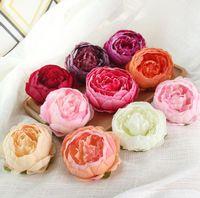 ingrosso fiori di parete bianchi-10 cm fiori artificiali per le decorazioni di nozze Peonia floreale teste di fiore Decorazione del partito Fiore parete fondale di nozze Peonia bianca G1246