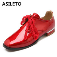 Wholesale British Bowtie Style - ASILETO Women Flats British Style Shoes Square Toe Spring Patent Leather Oxford Flats Bowtie Casual Lace Up Women Shoes S356