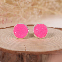 Wholesale Drusy Ear Stud Earrings Round Neon Pink Copper Resin Pair