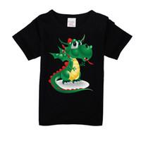 3т трикотаж оптовых-Дети динозавр шаблон футболки для мальчиков хлопок короткие летние девочки футболка мальчик зеленый топы одежда