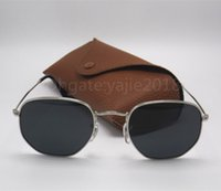 Wholesale red definition - Fashion brand retro sunglasses designer hexagonal sunglasses men and women high quality high-definition glass lenses gold frame sunglasses