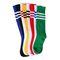 Wholesale children stage shows - Student Kids Children Stage Show Candy Color Three Striped Football Socks Breathable Baby Boys and Girls Long Socks Casual Sports Socks 1409