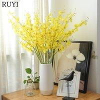 ingrosso orchidee di seta gialle-All'ingrosso-1 PZ 90 cm seta singola orchidee danza fiore artificiale simulazione di colore giallo fiore falso decorazione di nozze per la decorazione della tavola