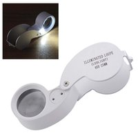 Wholesale foldable magnifying glass - Outdoor Hiking Portable 40x25mm Jeweler Loupe MINI Illuminated Magnifier Foldable Magnifying Glass Lens with LED Light Tools