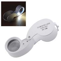 Wholesale mini magnifying glass portable - Outdoor Hiking Portable 40x25mm Jeweler Loupe MINI Illuminated Magnifier Foldable Magnifying Glass Lens with LED Light Tools