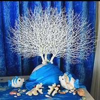 ingrosso fiori di corallo artificiali per le nozze-Cerimonia di nozze falso fiore artificiale plastica pavone ramo di corallo creativo moda simulazione fiori alta acquario paesaggistica 13 5 jt