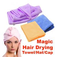 secador de pelo de onda al por mayor-Microfibra Magic Hair de secado en seco turbante Wrap Toalla Toalla de pelo largo ultrafino absorbente estupendo fibra del cabello seco sombrero CNY643