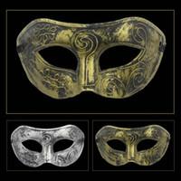 plastische ritter großhandel-1 STÜCK Halloween Maske Chic Festival Geheime Partei Kunststoff Gold Männer Brüniert Antike Ritter Silber Retro Venetian Masquerade Maske S3