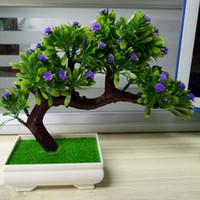 Wholesale plum pot resale online - Wedding Artificial plants Bonsai With Pot Guest Greeting Pine Plant Artificial Flowers Decorative Green Plant Artificial Wedding Flowers