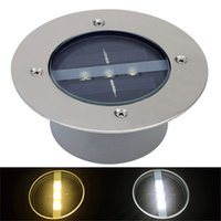 ingrosso luci a passo solare a led esterne-3leds LED Solar Powered Underground Floor Sepolto Light Outdoor Decking Landscape Garden Recinzione Lamp Door Stairsway Step Light