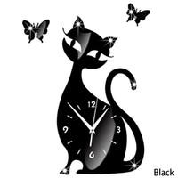 borboletas espelhos pretos 3d venda por atacado-Gato bonito Borboleta Espelho Preto Relógio de Parede Mudo Relógios de Parede 3D Sala de estar Relógio de Parede de Decoração Para Casa Criativa pendurado Sino