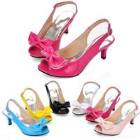 Wholesale womens shoes size 14 - Women Sandals womens sexy peep toe low heel sandals bow slingbacks women summer sandals shoes big size 13 14 15 34-46 A-09