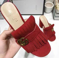 Wholesale slippers mules - 2018 Brand Women Fur Slippers Mules Flats Suede mule shoes Luxury Designer Fashion Genuine Leather Loafers Shoes Metal Chain Ladies Casual