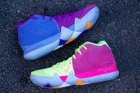 Wholesale Best Zoom - 2018 Best Kyrie Irving 4 Confetti Mens Zoom Basketball Shoes Kyrie 4 Mens Basketball Shoes outdoors Sport Sneakers EP Couleur Multiple