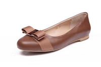 Wholesale pink leather ballet flats for sale - Plus Size Spring Autumn Genuine Leather Shoes Woman Flats Work Classi Fashion Bowknot Female Casual Ballet Ladies Shoes