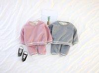 servicio de terciopelo al por mayor-2018 baby boys and girls grueso color sólido servicio a domicilio para bebés más traje de terciopelo
