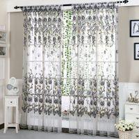 cortinas finas al por mayor-6 colores de la oficina de la casa cortina de la ventana de moda divisor de la impresión de flores tulle voile drape del panel cenefas de la bufanda pura